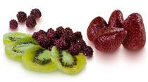 Kiwi, mûre et fraise au sirop
