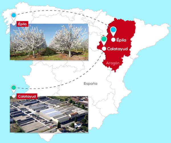 Mapa de la producción de fruta confitada de Lazaya en Aragón, España.