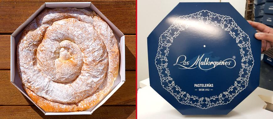 Tradicional caja de la ensaimada de cabello de ángel de Mallorca.