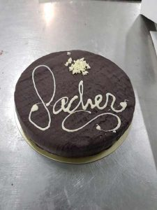 Sacher cake with finished apricot jam