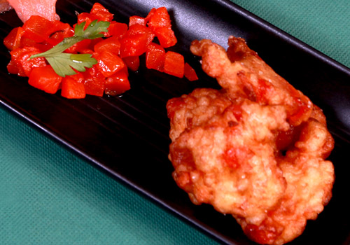 Recipe with candied vegetables Carrot fritters and smoked salmon