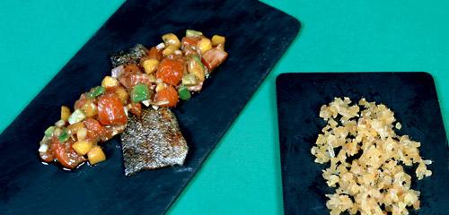 Receta con verduras confitadas Tartar de atún rojo con jengibre