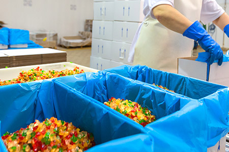 Candied fruits are packaged in different containers to meet our customers needs.