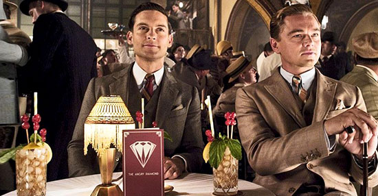 Leonardo di Caprio and Tobey Maguire have a cocktail with a glace cherry in The Great Gatsby.