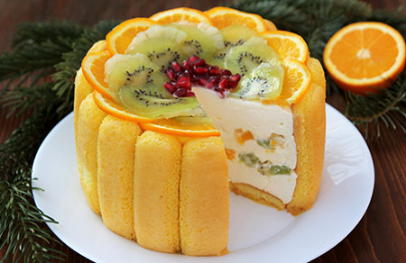 Diplomat tort is one of the most beautiful cakes with candied fruits for it colourfulness.
