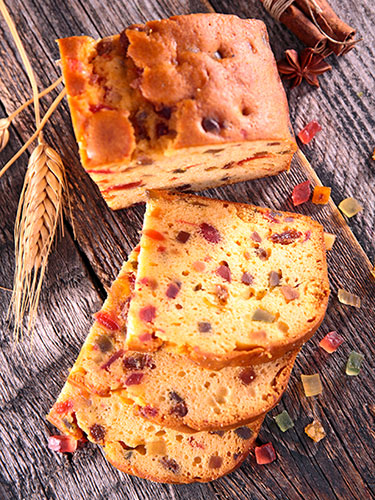 Delicious and spongeous cakes with candied fruits.
