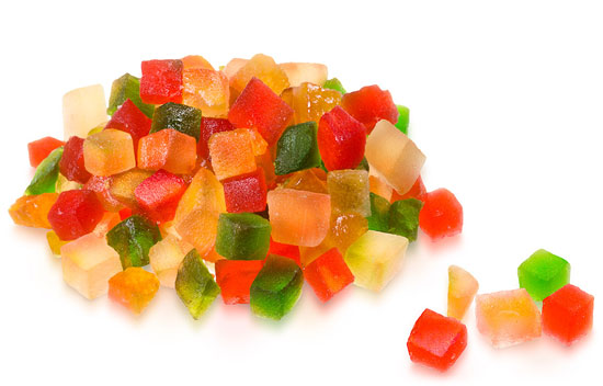 Assortiment de cubes de fruits confits