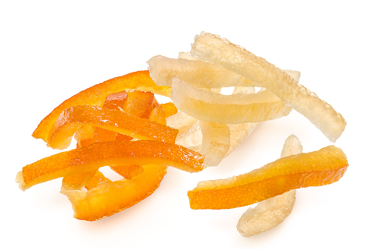 Candied fruit peel for decorations and fillings in pastisserie